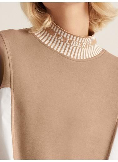 Nocturne Kontrast Renk Uzun Sweatshirt Bej